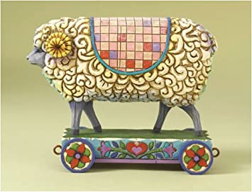 Jim Shore Sheep On Cart Figurine Wooly Ram 4008181