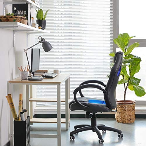 SONGMICS OBG56L Racing - Silla de Escritorio de Oficina Ergonómica Regulable con Ruedas, color Azul 23