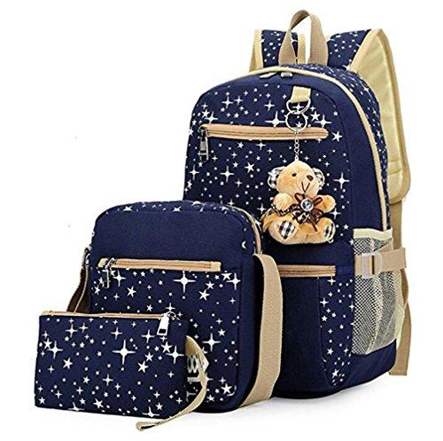 Girls' Canvas Backpack Set 3 Pieces Patterned Bookbag Laptop School Backpack ()