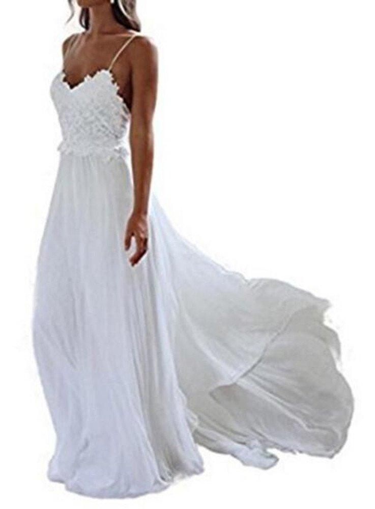Formaldresses Spaghetti Straps Beach Lace Wedding Dress Plus Size Boho  Bridal Gown Open Back (White, Custom Plus Size)