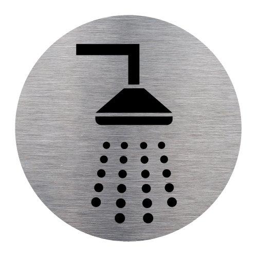 Plaque de porte Douche en Aluminium Brossé Inoxydable - Pictogramme Douche Porte Disque Rond Diamètre 83 mm - Double face autocollant adhésif au dos - Douche Signalétique.biz France Q0177