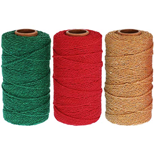 984 Feet Cotton Baker Twine 2 mm Halloween Valentine's Day Christmas Wrapping String Rope for DIY Craft (Red, Green, Khaki)
