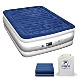 Kasonic Air Mattress Queen Size - Inflatable Airbed with Free Fitted Sheet & Carry Bag; Built-in ETL Listed Electric Pump Raised Air Bed; Height 22'', Easy Setup for Home Use/Office Relax/Camping
