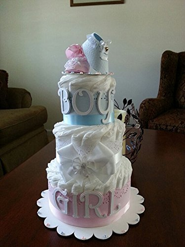 Three Tier Gender Reveal Diaper Cake Neutral Pink And Blue