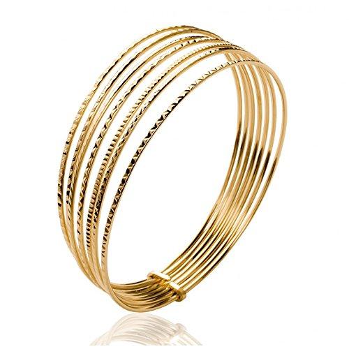 a12fc7ecb58b Pulsera con grabado de 7 bandas chapada en oro para mujer  Amazon.es   Joyería
