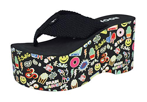 Rocket Dog Big Top Webbing Womens Flip Flops/Sandals-Black-7