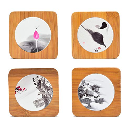 (ALINS Bamboo Square Coasters with Round Ceramic Stone Natural Bamboo Coasters Chic Ancient Style Ink Painting Tea Art Accessories 4-Piece Set)