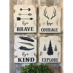rustic nursery décor, woodland theme nursery, nursery signs