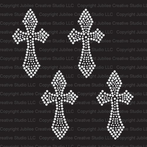 Set of 4 Mini Cross Iron On Rhinestone Crystal T-shirt Transfer by Jubilee Rhinestones