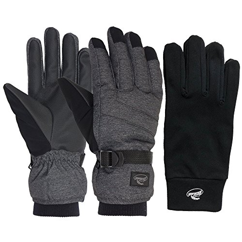 HighLoong Mens Ski Snowboard Gloves Waterproof,Thinsulate, Melange Fabric Winter Cold Weather Gloves (Melange 2-Pair L) (Face North Waterproof Gloves)