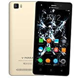 Unlocked Smartphone 8Pcs V Mobile A10-N Android 7.0 8GB ROM 5MP Camera 2800mAh Battery Dual Sim Quad Core for at&T/T-Mobile WiFi GPS (Gold)