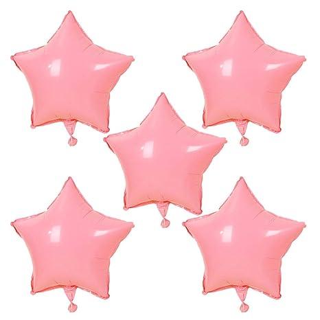 Scrox 5pcs Globos de Cumpleaños Aluminio Forma de Estrella Macaron Látex Globos de Helio Decoracion para