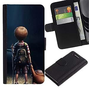 ZONECELL ( No Para Xperia Z1 ) Imagen Frontal Negro Cuero Tarjeta Ranura Trasera Funda Carcasa Diseño Tapa Cover Skin Protectora Case Para Sony Xperia Z1 Compact D5503 - soledad niño
