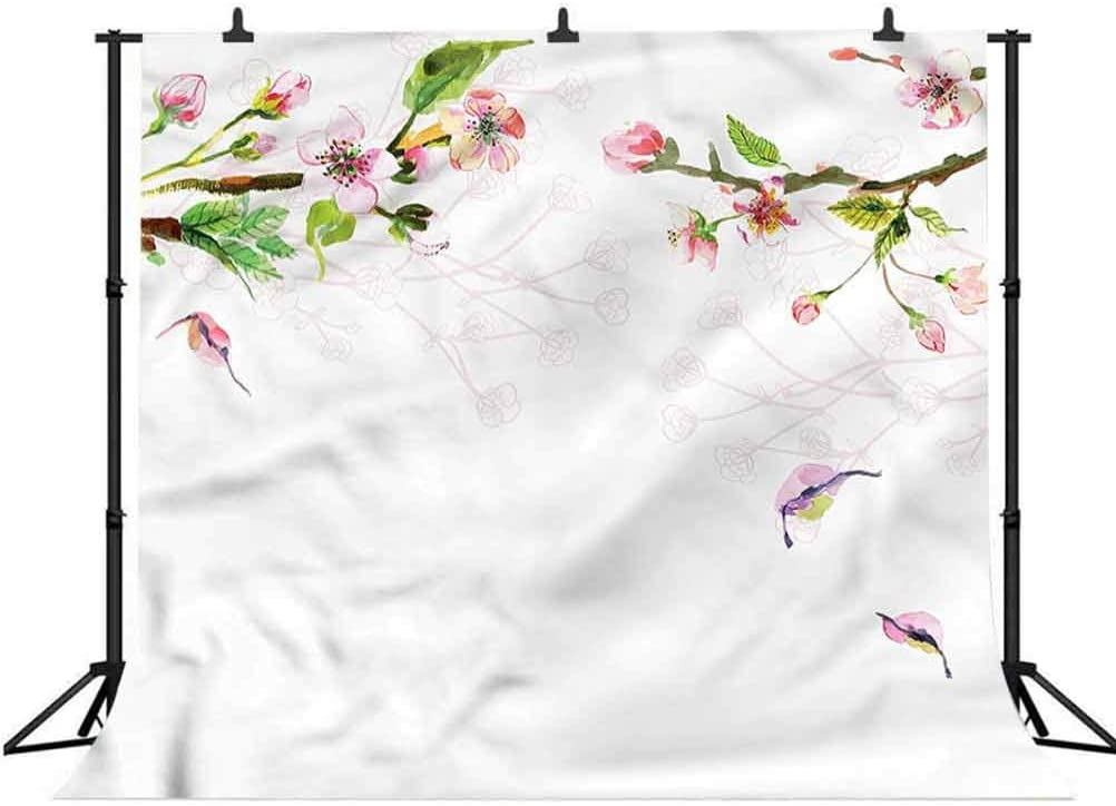 Tree in Spring Background for Selfie Birthday Party Pictures Photo Booth Shoot 8x8FT Vinyl Photography Backdrop,Watercolor