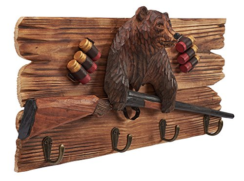 (Atmosphere Leisure Brown Bear Shot Gun Wall Hook Sculpture Figurine. Hand Carved & Made 100% Solid Pine Wood.)