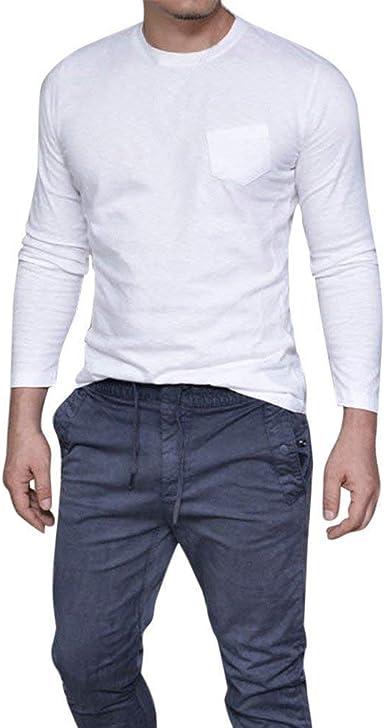 Camiseta Hombre Hombre Sexy Cuello Slim Fit O Camiseta Modernas Casual De Manga Larga Camiseta Casual Tops Blusa Camisa De Invierno Camisa Autum De Color Sólido: Amazon.es: Ropa y accesorios