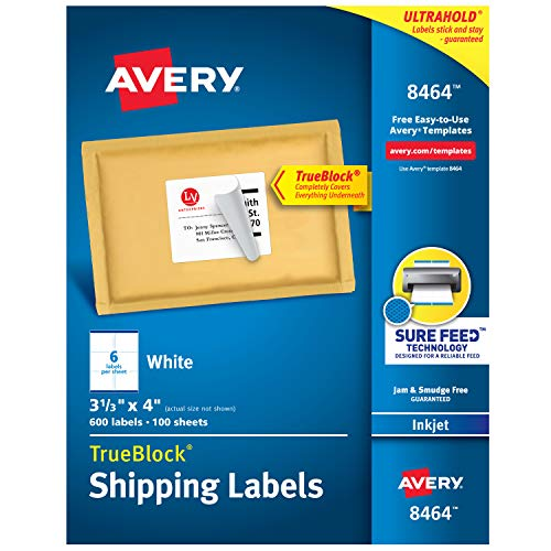 Avery Shipping Address Labels, Inkjet Printers, 600 Labels, 3-1/3x4 Labels, Permanent Adhesive, TrueBlock (8464) ()