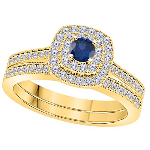 1 Ct Round Cut Cz Blue Sapphire & Simulated Diamond 14k Yellow Gold Plated Wedding Bridal Set Double Halo Engagement Ring