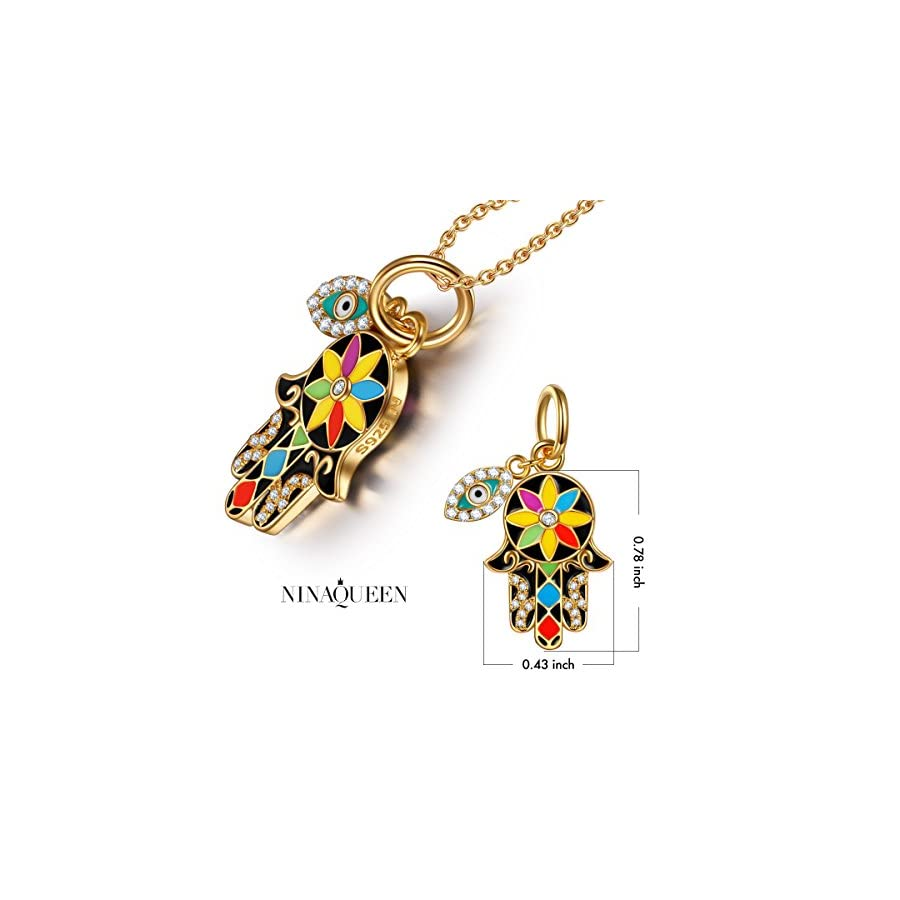 "NINAQUEEN ""Hamsa Hand and Evil Eye Buy One Hamsa Charm, Get One More Hamsa Necklace 925 Sterling Silver Multicolor Enamel Lucky Dangle Charms, Pendant for Choker Necklace"