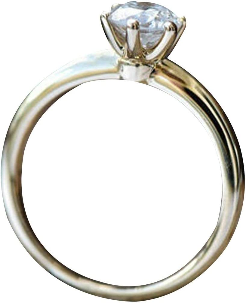 Kongqiabona-UK Nicole Jewelry Anillo clásico de Diamantes Anillo Solitario de Diamantes Anillo de Compromiso Art Deco Oro Platino