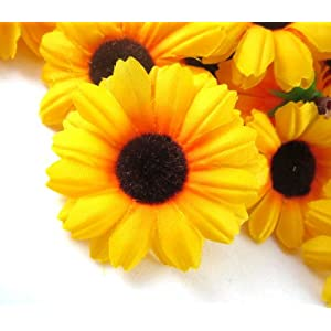 "(12) Silk Yellow Sunflower Gerbera Daisy Flower Heads , Gerber Daisies - 1.75"" - Artificial Flowers Heads Fabric Floral Supplies Wholesale Lot for Wedding Flowers Accessories Make Bridal Hair Clips Headbands Dress 10"
