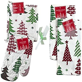 Holiday Kitchen Towel and Pot Holder Set: Red and Green Decorated Printed Trees on Natural Cotton Fibers (Trees)