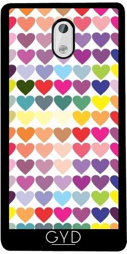 Funda de silicona para Nokia 3 - Corazones Multicolores by les caprices de filles