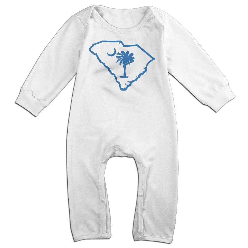 Flag Map Outline of South Carolina Long Sleeve Newborn Baby Bodysuit for 6-24 Months Bodysuit