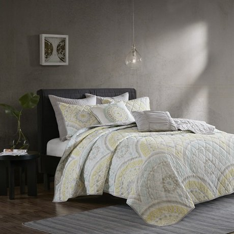 picture of Urban Habitat Matti 7 Piece Coverlet Set Yellow KingCal King