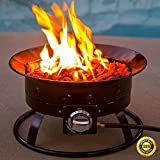 COLIBROX--Fire Bowl Portable Outdoor Firepit w/ Regulator Hose Stainless Steel Patio Camp. Suitable for backyard, outdoor entertaining, bonfire pit, camping, tailgating, parties, BBQ's, relaxing.