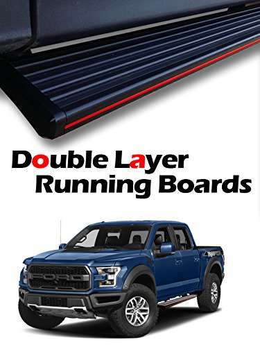 "MPH Auto 5.5"" Stylish Running Boards Custom Fit 2015 2016 2017 2018 Ford F150 F-150 SuperCrew (Crew Cab) / 2017-2018 F250/F350 SuperCrew (Crew Cab) Black Side Step Bar (2pcs) mj-034-r"