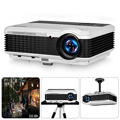 EUG LED LCD 1080P Projector Home Cinema Indoor Outdoor Movies 3600 Lumen 5.8