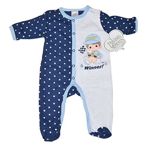 Precious Moments Baby Boys Bodysuit - Boy with Racecar Waving Flag, Winner! (6-9 Months)