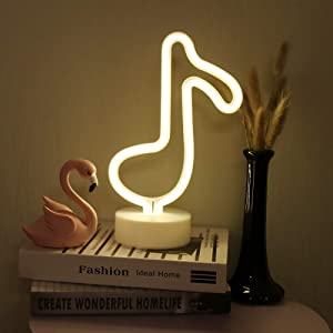 Led Music Notes Shaped Neon Lights Decor Light Led Night Light Wall Table Decor Battery Operated Creative Lighting Lamps for Christmas Wedding Sign Birthday Luau Summer Party Kids Room Living Room