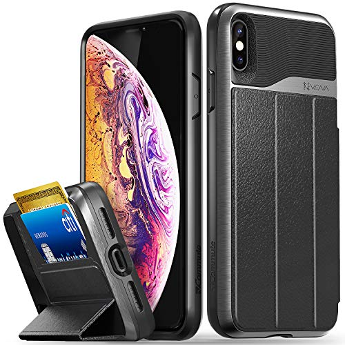 Vena iPhone Xs Max Wallet Case, [vCommute][Military Grade Drop Protection] Flip Leather Cover Card Slot Holder Compatible with Kickstand for Apple iPhone Xs Max (Space Gray/Black)
