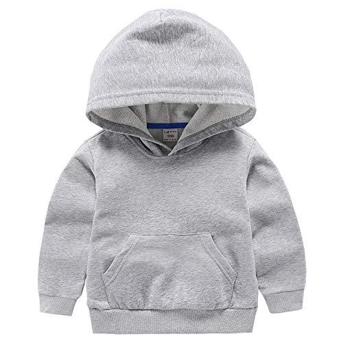 ALALIMINI Boys&Girls Hoodies Cotton Sweatshirt Pullover Sweats Unisex Toddler Kids Hood with Big Pocket 2T 3T 4 5 Gray 100CM/3T