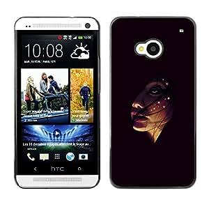 KLONGSHOP // Cubierta de piel con cierre a presión Shell trasero duro de goma Protección Caso - Face In The Dark - HTC One M7 //