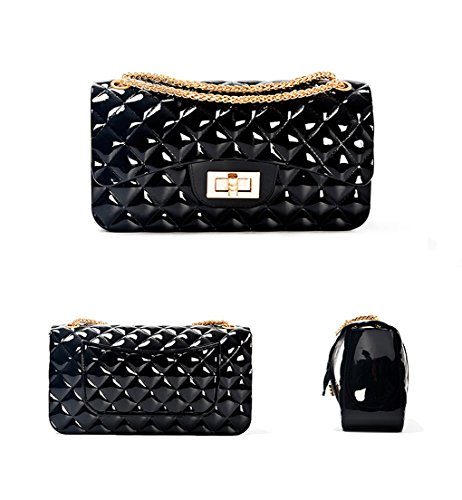 Bag Jelly Silicone With Shoulder Bag HPASS Chain Fashion Handbag Crossbody Black Cluth Quilted IzZqqRcwW