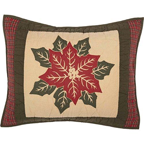 VHC Brands Seasonal Bedding National Quilt Museum Poinsettia Block Tan Sham, Standard,