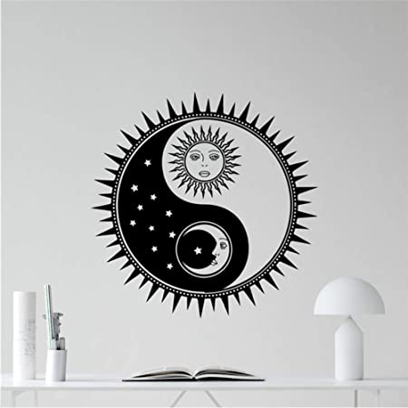 hllhpc Sol Y Luna Yin Yang Tatuajes De Pared Sol Estrellas ...
