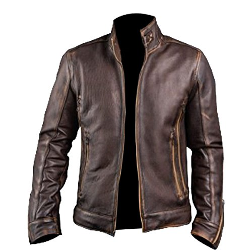 MPASSIONS Men's Biker Cafe Racer Vintage Motorcycle Distressed Brown Leather (Distressed Brown Leather Jacket)