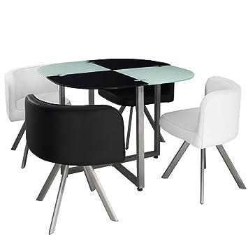 Menzzo P803 Contemporain Mosaic 90 Table Et Chaises Métalverre Noir