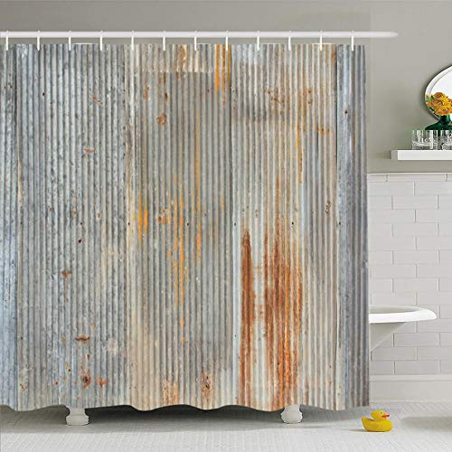 Ahawoso Shower Curtain 60 x 72 Inches Decay Gray Iron Rusty Weathered Looking Piece Corrugated Abstract Old Sheet Rustic Aged Tin Waterproof Polyester Fabric Bathroom Set with Hooks