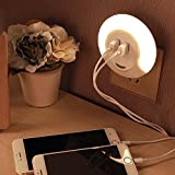 AMA(TM) Double USB Bedside Charger Desk LED Light Induction Control Night Lamp (White)
