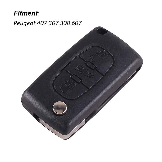 Funda con tapa mando a distancia Carcasa de llave para Peugeot 407 307 308 607 3 botones ce0523