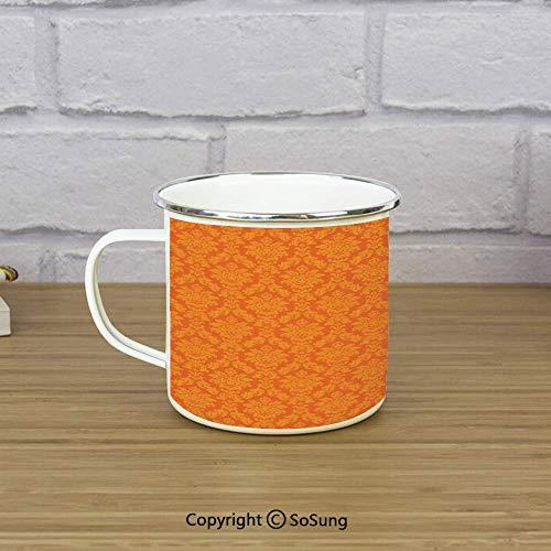 Burnt Orange Travel Enamel Mug,Classic Baroque Venetian Random Patterns with Antique Decorative Floral Leaves Home Decorative,11 oz Practical Cup for Kitchen, Campfire, Home, - Orange Classic Enamel