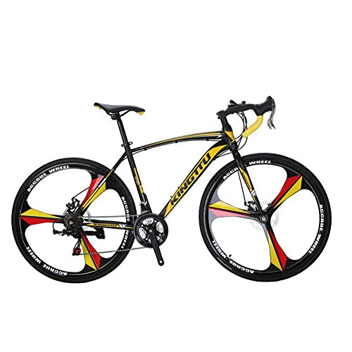 Extrbici XC550 Road Bike With High Carbon Steel Frame Sturdy And Light BB7 aluminium alloy Disc Brakes (Black yellow)