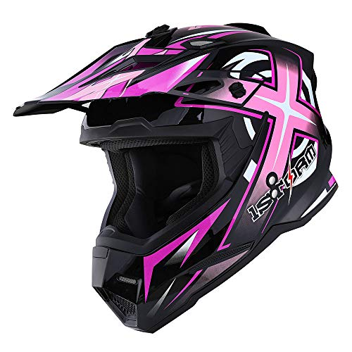 Sonic Helmet - 1Storm Adult Motocross Helmet BMX MX ATV Dirt Bike Helmet Racing Style HF801; Sonic Pink