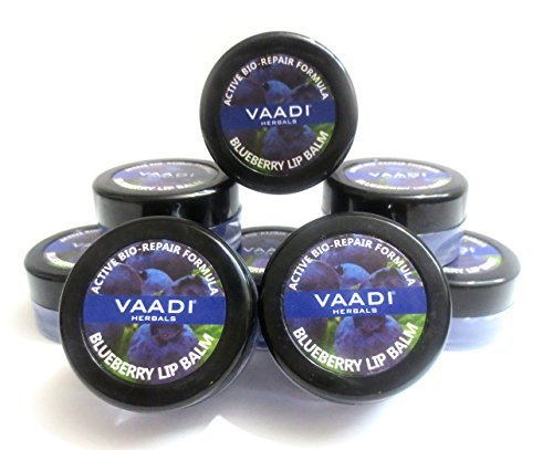 Gms Patch - Lip Balm - ★ Active Bio-Repair Formula - ★ Blueberry Flavor - ★ All Natural - ★ Pack of 8 X 10 Gms(0.35 Ounces) in Tin - Vaadi Herbals