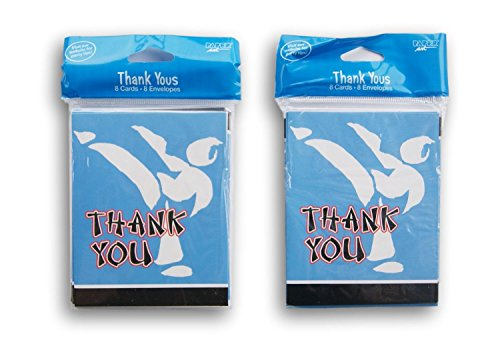 Karate Party Thank You Notes and Envelopes - 16 Each (Black Belt Birthday Invitations)